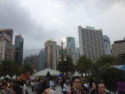 View over the flower festival! Towering buildings...