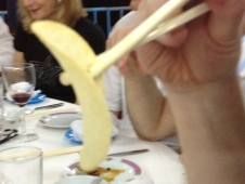 Husband happy with his pringle- pick it up with a chopstick, of course!
