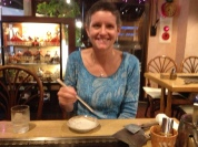 My friend Joyce, we've both adjusted to consistently using chopsticks.