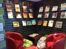 Library entrance, comfort zone, new books on display!