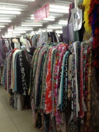 Overwhelming fabric selection.