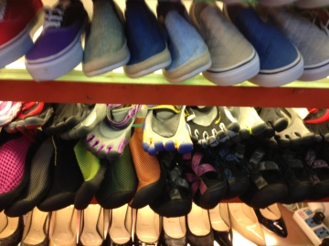 Vibram (ish) shoes... My husband's idea of a good store! :)