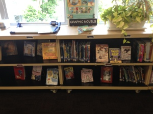 Our graphic novel area, rarely full but now with most of books returned starting to feel a little more packed!