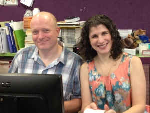 "Husband/Wife team- running the library. Principal called us the ""dream team"". :) 5 weeks working together."
