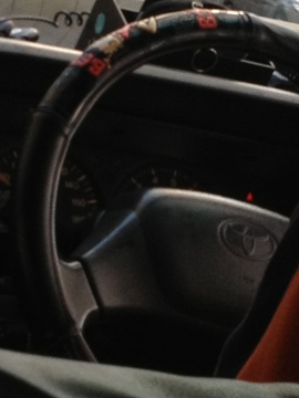Betty Boop steering wheel in a taxi the other day... I always pay attention to how taxi drivers decorate...