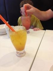 Strawberry juice and mango juice, YUM- bliss...