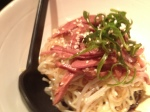 Interesting, smoked duck with noodles, nice mix.