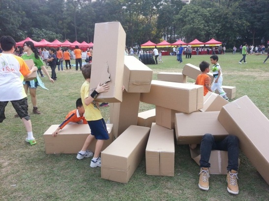 Random celebration play in the park. Smart people know how fun cardboard boxes are.