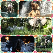 Safari boat ride with animatronic animals.