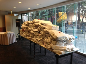 Donations of filled back packs ready to send to the Phillipines.
