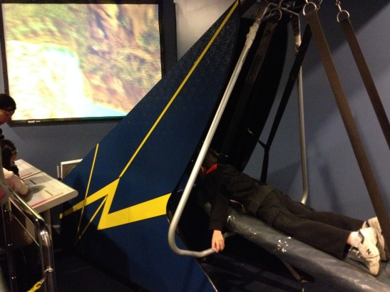 Kiddo hang gliding at the Space Museum.