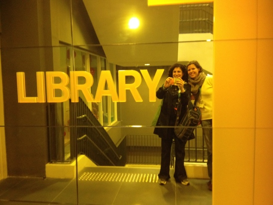 Tanja and I at the entrance to her library!