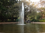 There are numerous fountains in the park.