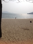 Hanging out at the beach for a few moments on our way up to the mountain in Mui Wo.
