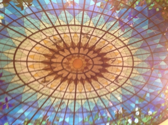 Looking up from round escalator- lovely ceiling!