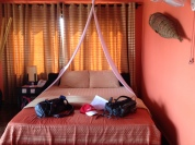 Our bed at hotel in Siem Reap