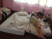 Here's our messy relaxing room, Bangkok.