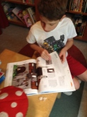 Kiddo found a Lego reference book, serious reading.