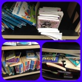 Library messy shelf example.