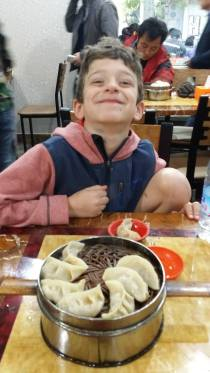 Kiddo found out he LOVED dumplings in the morning, they did this two mornings in a row, YUM.