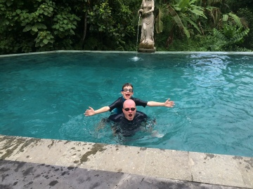 Dad enjoyed swimming with the kiddo as well