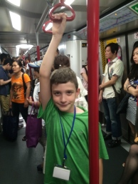 Kiddo is taller, so easy to ride the MTR and reach up high now.