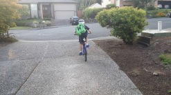 Second day of school he rode to school on his own. Growing up!!