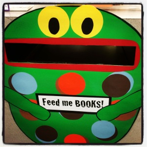 Love the book return area my school library assistant created!